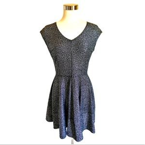 BAR III Metallic Flit & Flare Dress Silver Size L